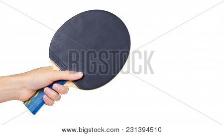 Ping-pong In Hand Isolated On White Background. Copy Space, Template.