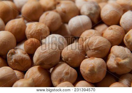 Chickpeas Macro Background. Turkish Or Garbanzo Beans - Healthy Vegan Food.