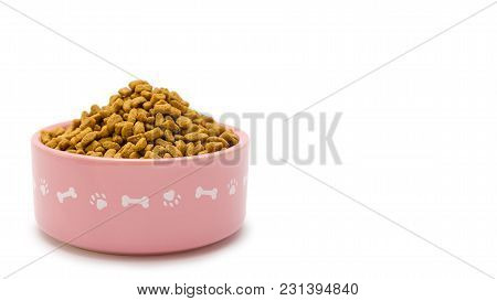 Bowl Full Of Food For Domestic Pets, Isolated On White Background. Copy Space, Template