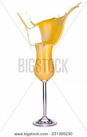 Glass Of Egg Liqueur Splashing Isolated On White Background, Closeup, Front View