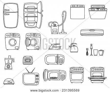 Household Appliances Set. Home Technics. Tv, Refrigerator, Conditioner, Dishwasher, Oven, Kettle, Ir