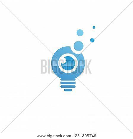 Light Bulb Idea With Eye Vector Template. Corporate Icon Such As Logotype. Creative Light Bulb Idea