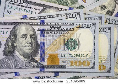 Money Background Of New Hundred Dollar Bills Cash