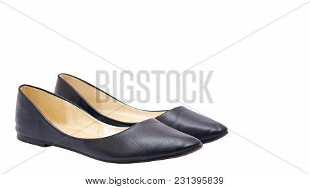 Women's Blue Leather Shoes Isolated On White Background. Copy Space, Template
