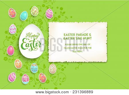 Happy Easter And Color Eggs Card For Design Banner, Ticket, Leaflet, Poster And So On. Template Page