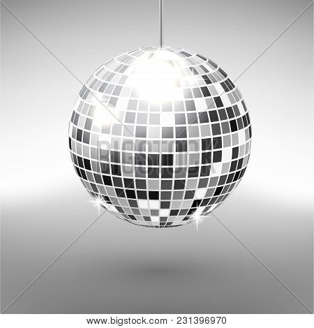 Disco Ball Isolated On Grayscale Background. Night Club Party Light Element. Bright Mirror Silver Ba