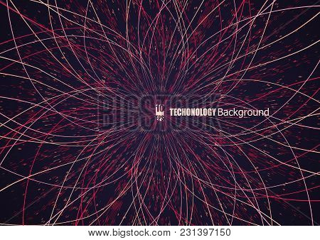 Abstract Communication Network Background. Fractal Element With Lines And Dots Array. Big Data Conne