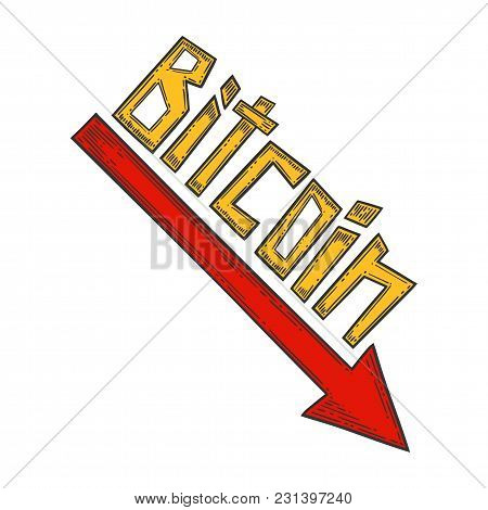 Bitcoin Down And Decrease Stock Vector Image, Digital Currency, Cryptocurrency Money, Bitcoin Symbol