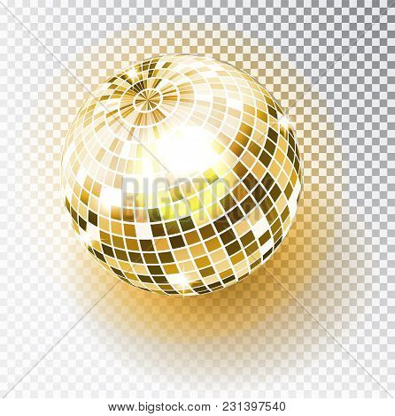 Disco Ball Isolated Illustration. Night Club Party Light Element. Bright Mirror Golden Ball Design F