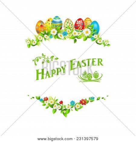 Easter Eggs On A Grass. Holiday Design Element Isolated For Card, Banner, Ticket, Leaflet, Poster An