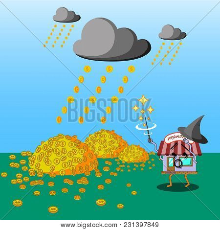 Flat Art Business Concept Illustration. Franchise Character As A Wizard Casting Money Rain To Fall.