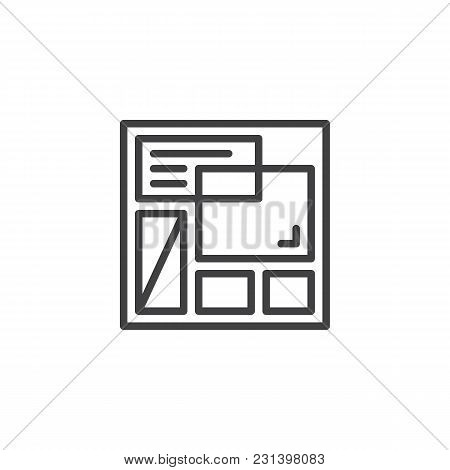 Website Template Outline Icon. Linear Style Sign For Mobile Concept And Web Design. Web Page Layout