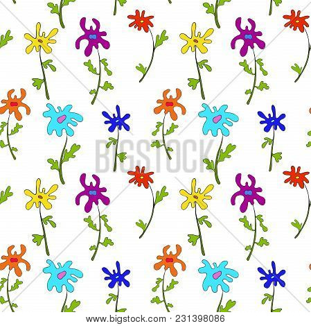Cute Seamless Pattern. Perfect For Wrapping Paper And Print Clothing. Hand Drawn Floral Seamless Pat