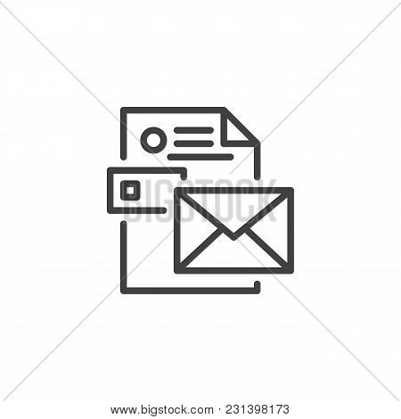 Envelope With Cv Resume Outline Icon. Linear Style Sign For Mobile Concept And Web Design. Stationer