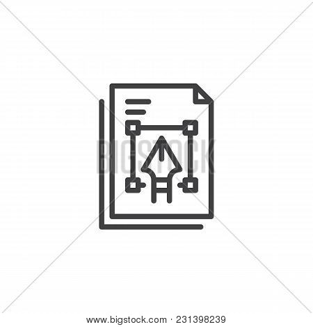 Graphic File Outline Icon. Linear Style Sign For Mobile Concept And Web Design. Drawing Pen On Paper