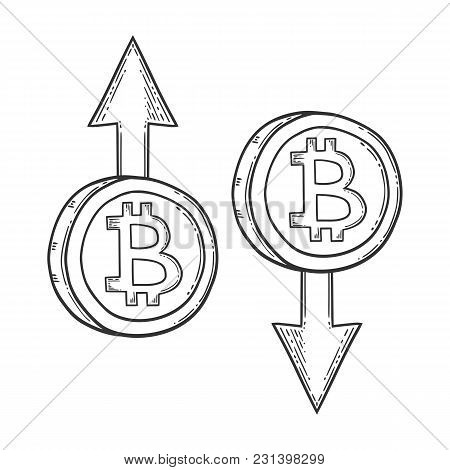 Bitcoin Growth, Increase And Down, Decrease Stock Vector Image, Digital Currency, Cryptocurrency Mon