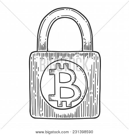 Bitcoin Stock Vector Image, Digital Currency, Cryptocurrency Money, Bitcoin Symbol. Doodle And Engra
