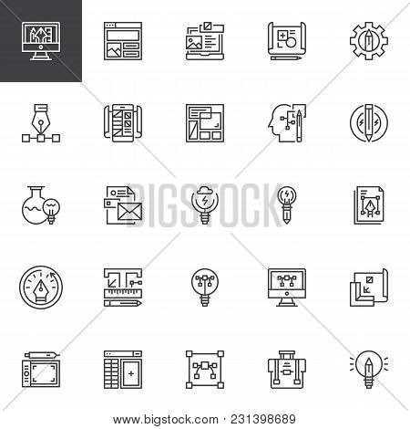 Idea And Creativity Outline Icons Set. Linear Style Symbols Collection, Line Signs Pack. Vector Grap