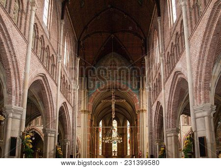Alkmaar,  Netherlands - April 21, 2017: Interior Of The Church Of St. Lawrence (grote Kerk Or Great