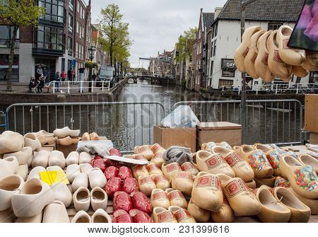 Alkmaar, Netherlands - April 21, 2017:  Clogs For Sale At The Alkmaar Cheese Market, Netherlands