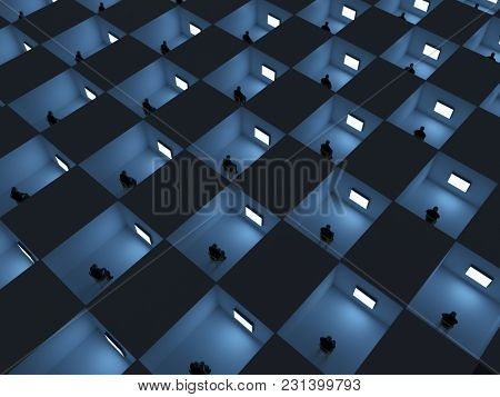 people in cell watching TV, 3d illustration