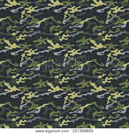 Camouflage Pattern. Fashionable Millatry Print. Seamless Vector Army Green Hunting Background. Navy