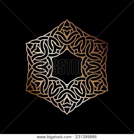 Intersecting Intertwining Circles. Crossing Of Rings And Lines, Logo Design Element. Monochrome Gold