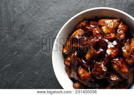 Ready-made Chicken Breast Pieces In Teriyaki Sauce Free Space. Asian Cuisine Horizontal