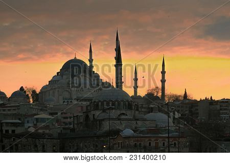 Suleiman Mosque At Orange Sunset. Istanbul, Turkey