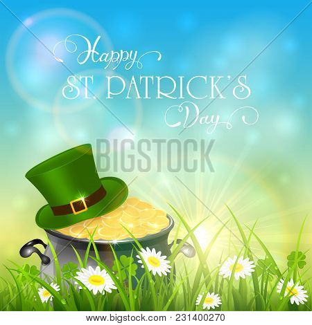 Patricks Day And Green Hat With Gold Of Leprechaun In Grass On Sky Background