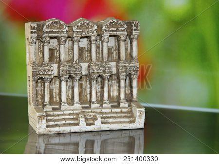 Old Temple Miniature In A Bright Fon
