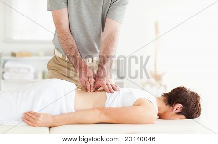 Brunette Woman Getting A Back-massage
