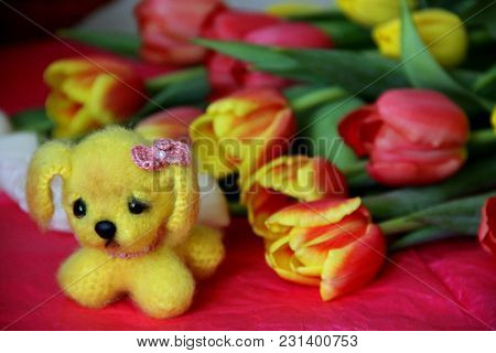 Hand Made Doggy With Bright Spring Flowers