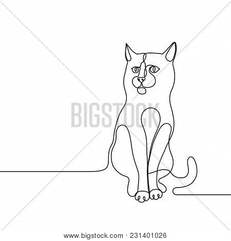 Continuous Line Drawing For A Cat Single Line Concept For Veterinary Service, Pet Shops Advertisemen