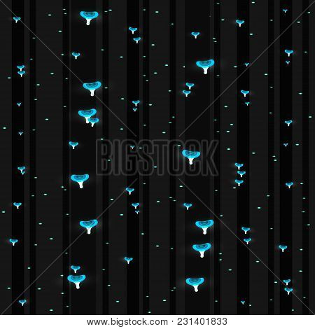 Abstract Glowing Mushrooms Seamless Pattern. Background Fungal Vector Illustration.