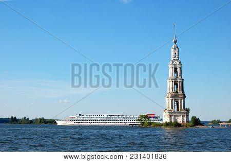 Sailing Ship Near The Flooded Church. The Volga River, Russia, Kalyazin