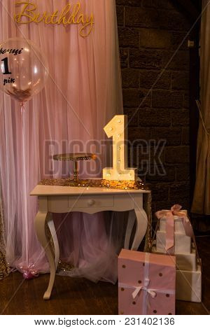 Wooden Electric Light Up Lamp Alphabet In Hard Font On The Table. Number 1. Wooden Number 1 With Bul