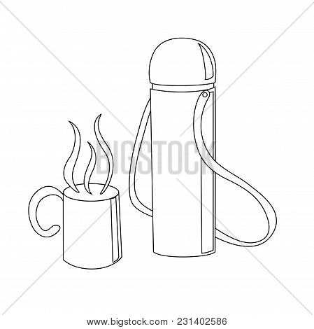 Travelling Thermos With A Cup With A Hot Drink In It Outline Coloring Page Cartoon Vector Illustrati
