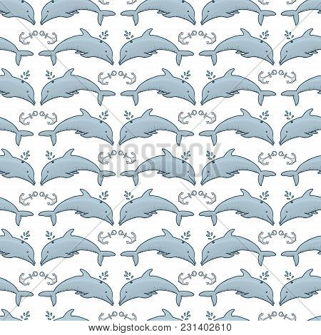Seamless Pattern Dolphin And Anchor And Blue Sea. Animals, Nature, Wildlife. Engraved Hand Drawn. Ma