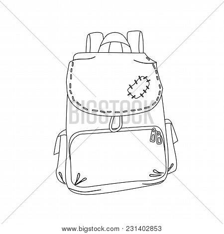 Traveller Hikker Old Patched Backpack Outline Coloring Page Cartoon Vector Illustration