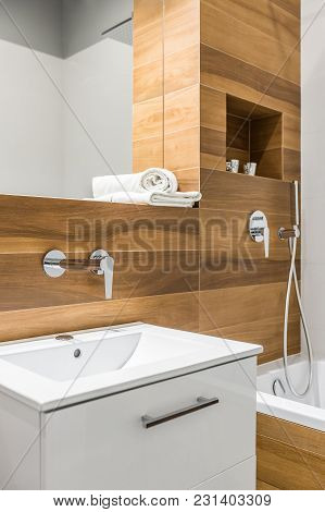 Wooden Tiles In Bathroom