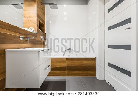 Bathroom With Wooden Tiles