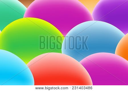 Vector Design Template In Trendy Bright Gradient Colors With Abstract Fluid Shapes , Easter Eggs.