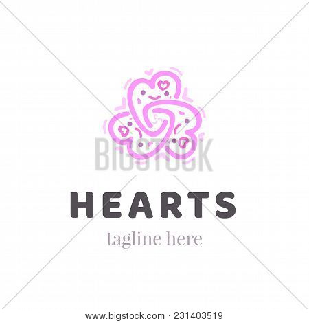 Abstract Ornate Heart Simple Graphic Symbol. Ornamental Pink Logo Template. Vector Illustration Of C