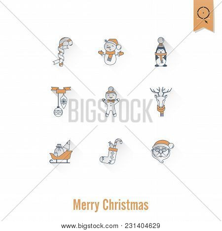 Christmas And Winter Icons Collection. Retro Color. Long Shadow. Simple And Minimalistic Style. Vect
