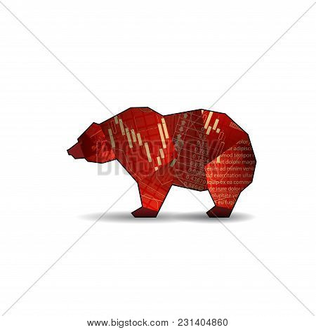 Abstract Market Bear Silhouette With Candlestick Isolated On White Background