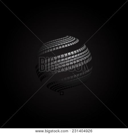Black Background With White Gradient Globe Tire Track Silhouette
