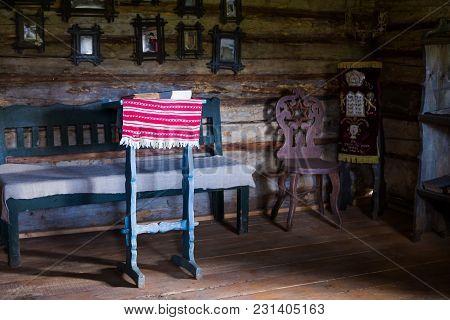 Kolochava, Ukraine - Circa Oct 2017: Old Jews Prayer Room In Ancient Wooden House In Open-air Museum