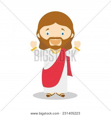Jesus Of Nazareth Cartoon Character. Vector Illustration. Kids History Collection.