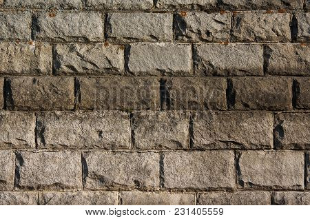 Background Of A Large Old Brick, Gray Large Brick A